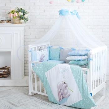 Комплект в кроватку Маленькая соня Akvarel Одуванчик поплин стандарт/овал с бортиками 6 предметов детский арт.0235149