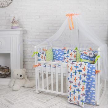 Комплект в кроватку Маленькая соня Baby Самолеты №21 поплин стандарт/овал с бортиками 6 предметов детский арт.021959