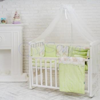 Комплект в кроватку Маленькая соня Baby Малыши в шапочках №27 поплин стандарт/овал с бортиками 6 предметов детский арт.021968