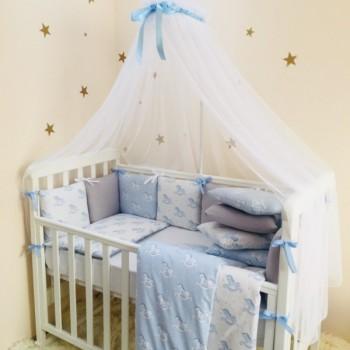 Комплект в кроватку Маленькая соня Baby Лошадки №47 поплин стандарт/овал с бортиками 6 предметов детский арт.0220211