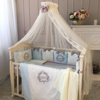 Комплект в кроватку Маленькая соня Elegance сатин овал/стандарт с бортиками 6 предметов детский голубой арт.024507