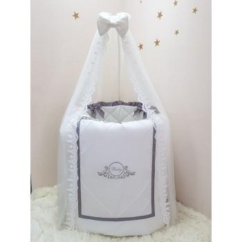 Комплект в кроватку Маленькая соня Belissimo сатин овал с бортиками 6 предметов детский серый арт.025652