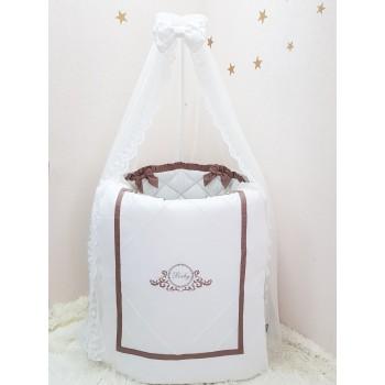 Комплект в кроватку Маленькая соня Belissimo сатин овал с бортиками 6 предметов детский шоколад арт.025601