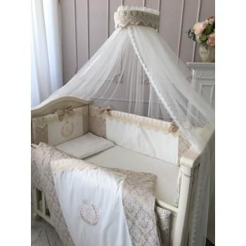 Комплект в кроватку Маленькая соня De Lux стандарт сатин с бортиками 6 предметов детский бежевый арт.023102