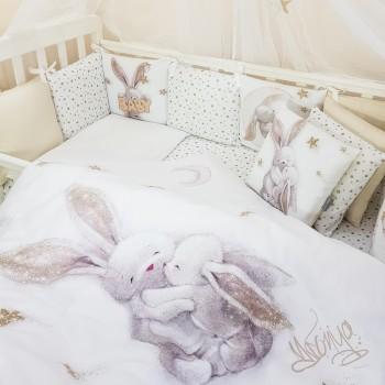 Комплект в кроватку Маленькая соня Magic Зайка сатин стандарт/овал 6 предметов детский золото арт.0241235