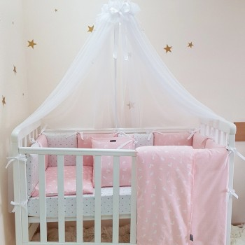 Комплект в кроватку Маленькая соня Baby Кролики №50 поплин стандарт/овал с бортиками 6 предметов детский розовый арт.0220223