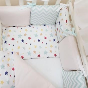 Комплект в кроватку Маленькая соня Baby Stars №52 поплин стандарт/овал с бортиками 6 предметов детский арт.0220225