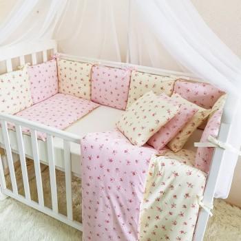 Комплект в кроватку Маленькая соня Baby Прованс №57 поплин стандарт/овал с бортиками 6 предметов детский розовый арт.0220237
