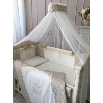 Комплект в кроватку Маленькая соня De Lux сатин стандарт с бортиками 7 предметов детский арт.013102