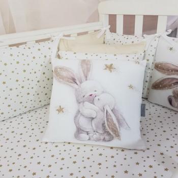Комплект в кроватку Маленькая соня Magic Зайка сатин стандарт/овал с бортиками 7 предметов детский золото арт.0141235