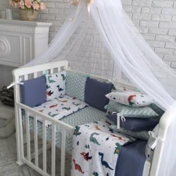 Комплект в кроватку Маленькая соня Baby Дино №38 поплин стандарт/овал с бортиками 7 предметов детский синий арт.0119186