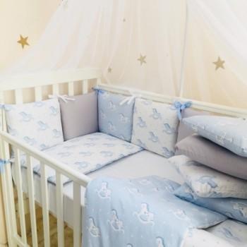 Комплект в кроватку Маленькая соня Baby Лошадки №47 поплин стандарт/овал с бортиками 7 предметов детский арт.0120211