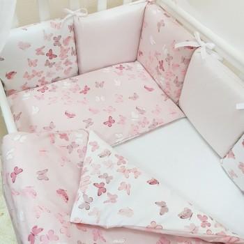 Комплект в кроватку Маленькая соня Baby Бабочки №49 поплин стандарт/овал с бортиками 7 предметов детский арт.0120222
