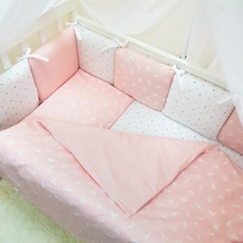 Комплект в кроватку Маленькая соня Baby Кролики №50 поплин стандарт/овал с бортиками 7 предметов детский розовый арт.0120223