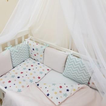 Комплект в кроватку Маленькая соня Baby Stars №52 поплин стандарт/овал с бортиками 7 предметов детский арт.0120225