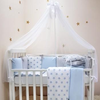Комплект в кроватку Маленькая соня Baby Stars №53 поплин стандарт/овал с бортиками 7 предметов детский голубой арт.0120226