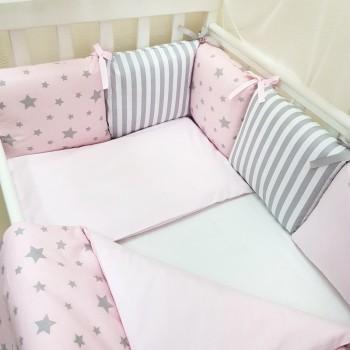 Комплект в кроватку Маленькая соня Baby Stars №54 поплин стандарт/овал с бортиками 7 предметов детский розовый арт.0120227