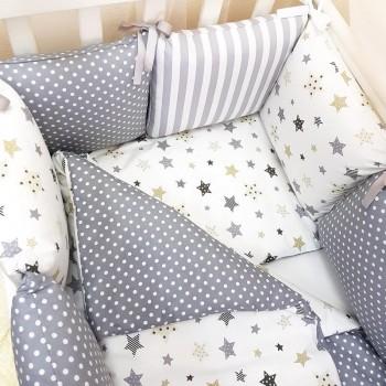 Комплект в кроватку Маленькая соня Baby Stars №55 поплин стандарт/овал с бортиками 7 предметов детский серый арт.0120228