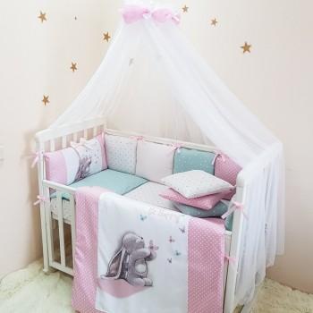 Комплект в кроватку Маленькая соня Akvarel Зайка с бабочками поплин стандарт/овал с бортиками 7 предметов детский арт.0135238