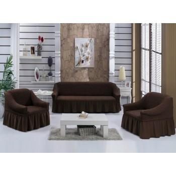 Чехол на диван Arya Burumcuk трехместный коричневый арт.1063212