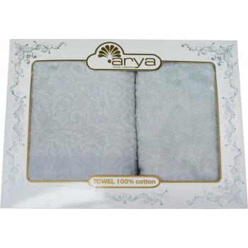 Набор полотенец для лица и тела Arya Aiko 50*90 см + 70*140 см махровые жаккардовые банные в коробке серый арт.TRK111000022250