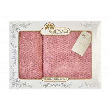 Набор полотенец для лица и тела Arya Arno 50*90 см + 70*140 см махровые банные в коробке розовый арт.TRK111000021788