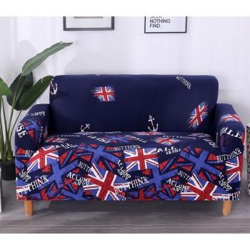 Чехол на диван Homytex двухместный 145*185 см бифлекс Британия синяя арт.6-12172