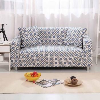 Чехол на диван Homytex двухместный 145*185 см бифлекс Абстракция голубая арт.6-12176