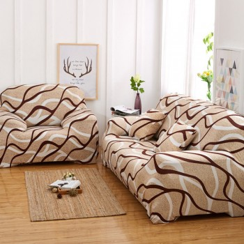 Чехол на диван Homytex двухместный 145*185 см бифлекс Волна бежевая арт.6-12178