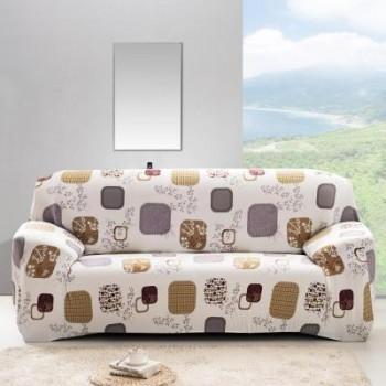 Чехол на диван Homytex двухместный 145*185 см бифлекс Квадраты арт.6-12179