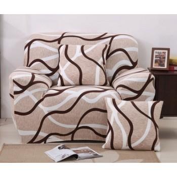 Чехол на кресло Homytex одноместный 90*140 см бифлекс Волна бежевая арт.6-12204