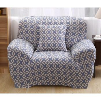 Чехол на кресло Homytex одноместный 90*140 см бифлекс Абстракция голубая арт.6-12205