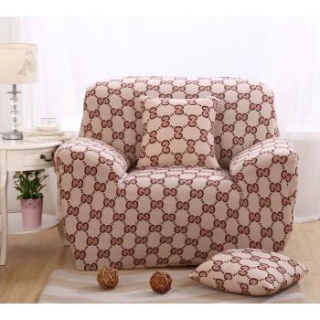 Чехол на кресло Homytex одноместный 90*140 см бифлекс Восьмерка бежевая арт.6-12206