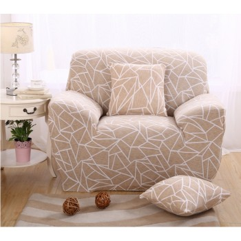 Чехол на кресло Homytex одноместный 90*140 см бифлекс Геометрия бежевая арт.6-12207