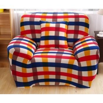 Чехол на кресло Homytex одноместный 90*140 см бифлекс Клетка красно-синяя арт.6-12212