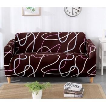 Чехол на кресло Homytex одноместный 90*140 см бифлекс Волна коричневая арт.6-12215