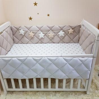 Комплект защита-бортики Маленькая соня Универсальный поплин в кроватку стандарт защита+простынь детский капучино арт.0700243