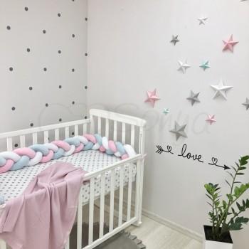 Бортик-коса Маленькая соня 120 см велюр в кроватку детский белый-мятный-розовый арт.0762240