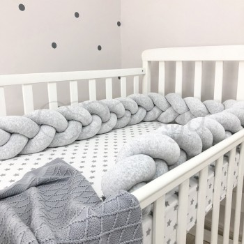 Бортик-коса Маленькая соня 220 см велюр в кроватку детский серый арт.075852