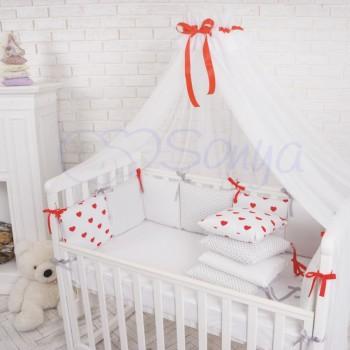 Балдахин Маленькая Соня Baby белый с красной лентой детский арт.051930