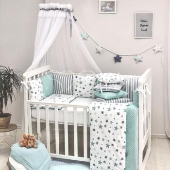 Комплект в кроватку Маленькая соня Baby Stars поплин стандарт/овал с бортиками 7 предметов детский мятный арт.0120229