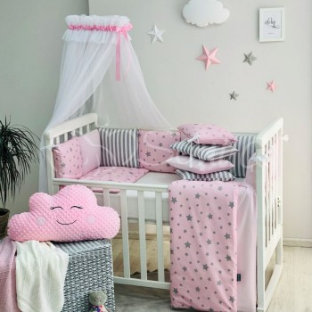 Комплект в кроватку Маленькая соня Baby Stars поплин стандарт/овал с бортиками 7 предметов детский розовый со звездами арт.0120443