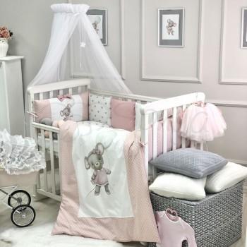 Комплект в кроватку Маленькая соня Mouse поплин стандарт с бортиками 6 предметов детский пудра арт.028479
