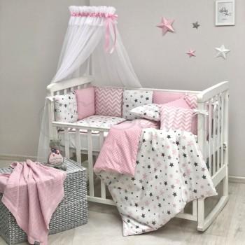 Комплект в кроватку Маленькая соня Baby Stars поплин стандарт/овал с бортиками 6 предметов детский розовый арт.0220227