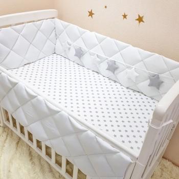 Комплект защита-бортики Маленькая соня Универсальный поплин в кроватку стандарт защита+простынь детский белый арт.070032