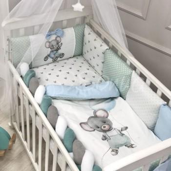 Комплект постельного белья в кроватку Маленькая соня Mouse детский поплин стандарт мятный арт.038447