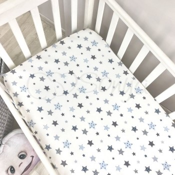 Простынь Маленькая Соня Stars детская 60*120*13 см стандарт/овал поплин на резинке голубая арт.1700226