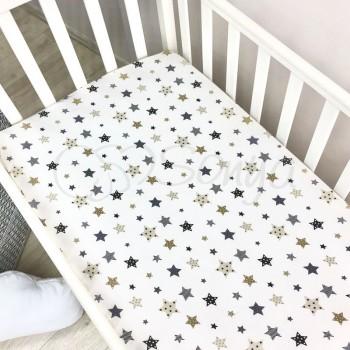 Простынь Маленькая Соня Stars детская 60*120*13 см стандарт/овал поплин на резинке серая арт.1700228