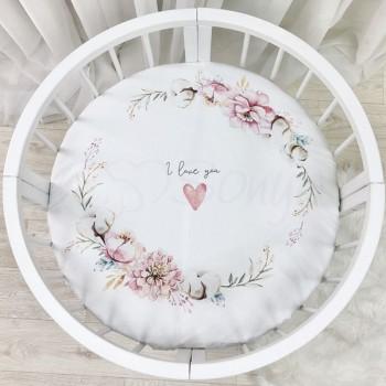 Простынь Маленькая Соня Heart and Flowers детская 70*70*13 см круглая поплин на резинке арт.9580412