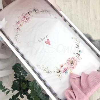 Простынь Маленькая Соня Heart and Flowers детская 60*120*13 см стандарт поплин на резинке арт.1780412